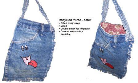 #3~Upcycled purse - small.  Featured straps, Embroidery available. Lined, Double stitched of longevity